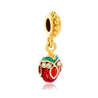 Red Crystal Easter Charm, Dangle, Gold