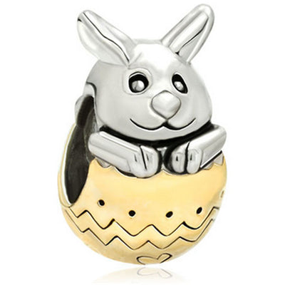 Easter Egg, Rabbit, Charm, Gold