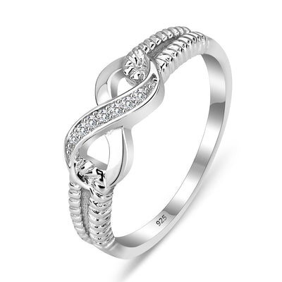 Infinity Love, Silver, Clear CZ