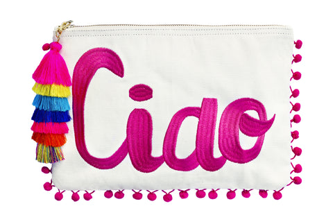 ciao embroidered pouch; pompom pouch; summer bags 2017