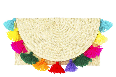 Straw fringe clutch; pompom clutch purse