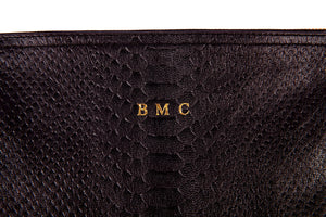 Flat Clutch+Python Embossed+Monogrammed