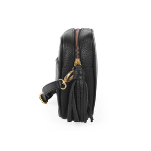 Pebbled leather crossbody bag; leather handbags; crossbody bags; black leather handbags; clare v mini sac, sezane, affordable crossbody bags; black mini camera bag; pebbled crossbody handbags