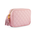crossbody quilted camera bag; mz wallace quilted leather camera bag; black camera bag; matelasse mini camera bag; designer mini camera bag; disco gucci quilted bag; pink mini camera bag; light pink crossbody bag; spring 2018 bag trend