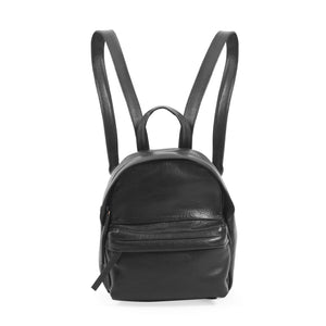 Black Leather Mini Backpack