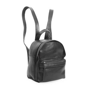 Side view black genuine leather mini backpack