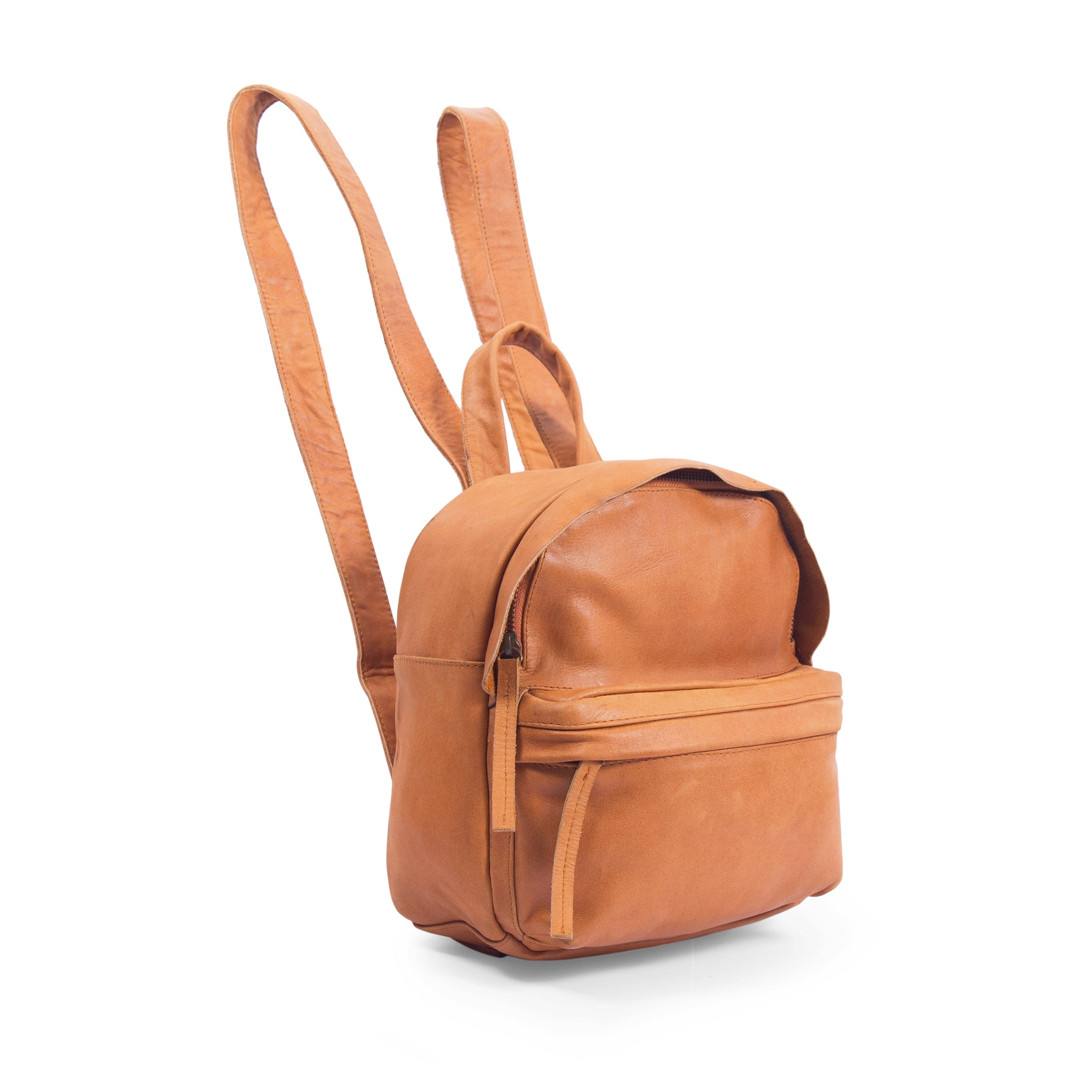 side view tan genuine leather mini backpack