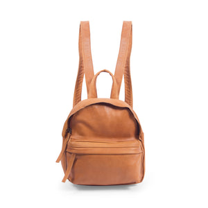 front view tan mini genuine leather backpack