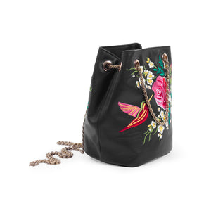 Amelia Bag-Embriodery-Drawstring Purse-Black