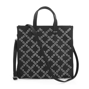 Small tote handbag; black; Tote for Women; Affordable tote bag; Black studded handbag; Small studded black leather tote bag