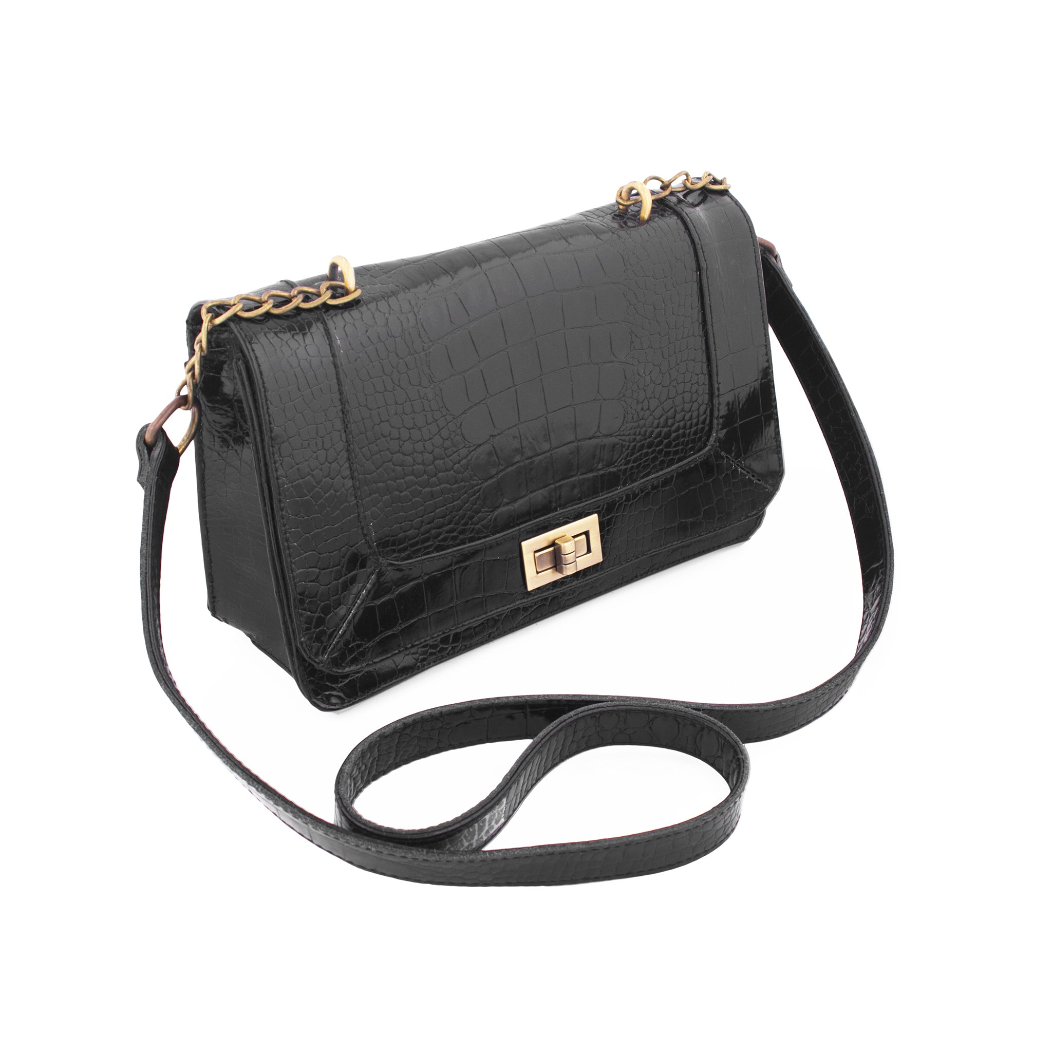 Becca-Crossbody Messenger Bag-Black