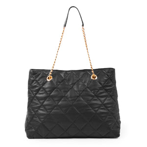 Becca Quilted Black Tote