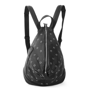 Studded black backpack front, black and silver backpack, backpack for girls
