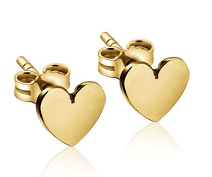 Stud heart mini earring; For women and girls; Gift Ideas; Jewelry; 14k gold; sterling silver; rose gold