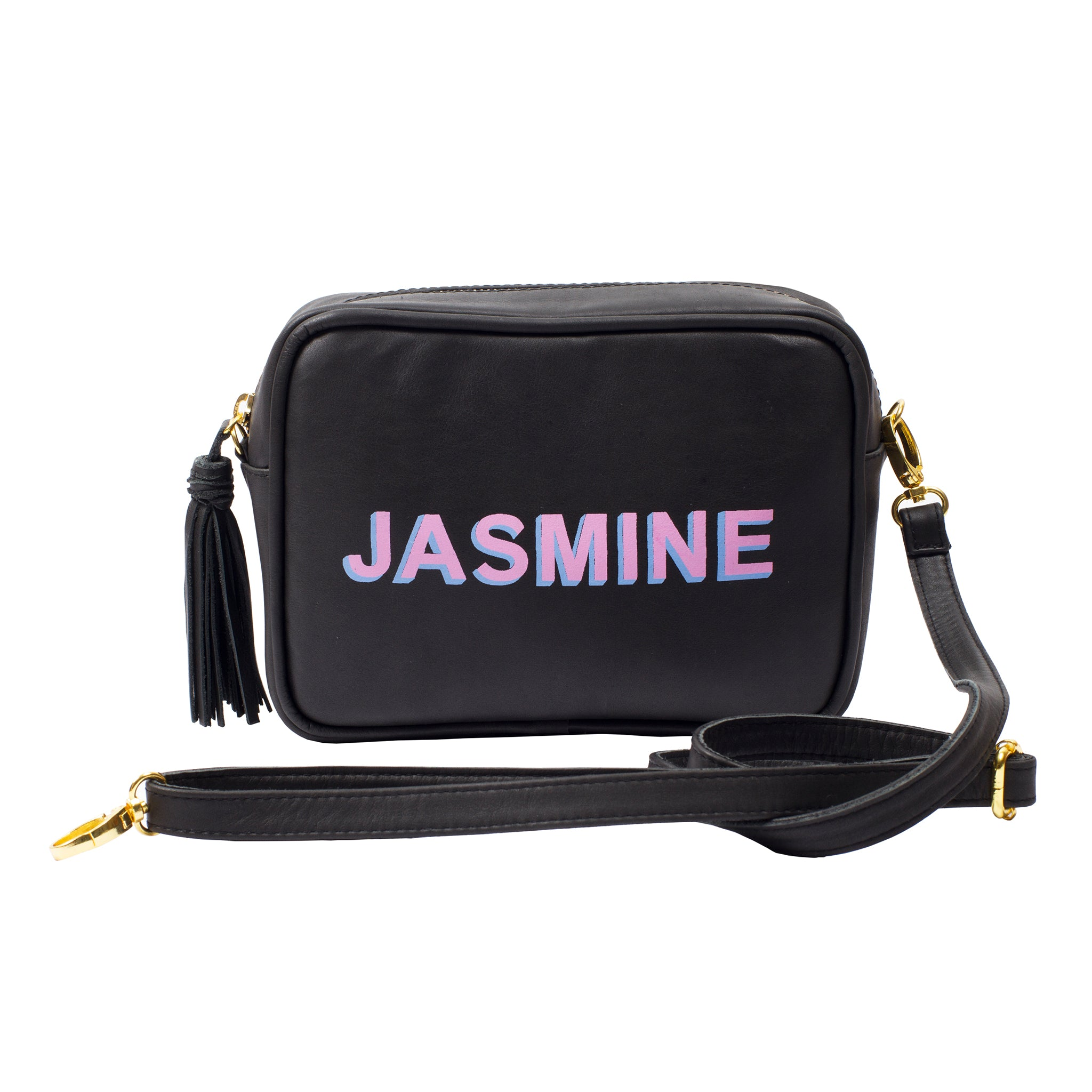Crossbody; Shoulder Bag; Black Camera bag; Shadow text Handbag; Personalized Handbag; Monogram Handbag; Black Camera Bag; Leather Camera Bag