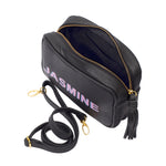 Black Crossbody Camera Bag; Crossbody bag for women; Shadow text camera bag; Mini Camera Bag