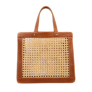 Classic Leather and Rattan Shoulder Tote Bag