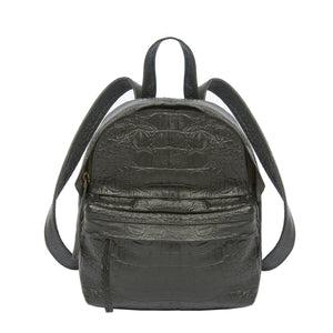front view croco embossed black leather mini backpack