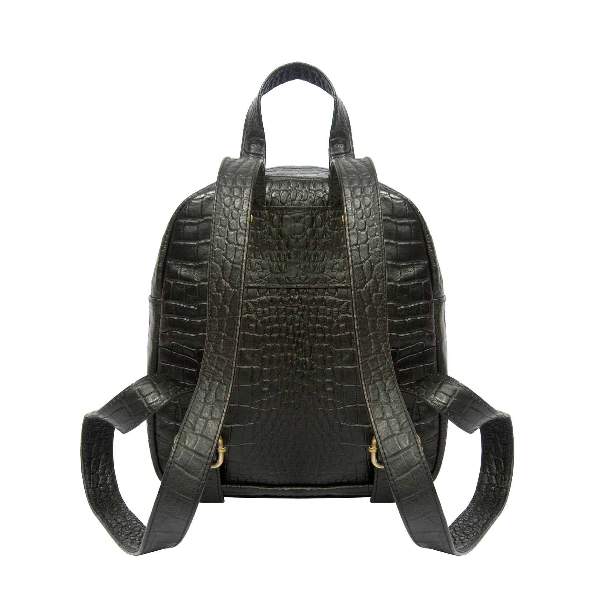 Back view Croco embossed black real leather mini backpack
