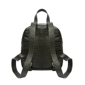 Aida-Crocodile Textured Genuine Leather Mini Backpack