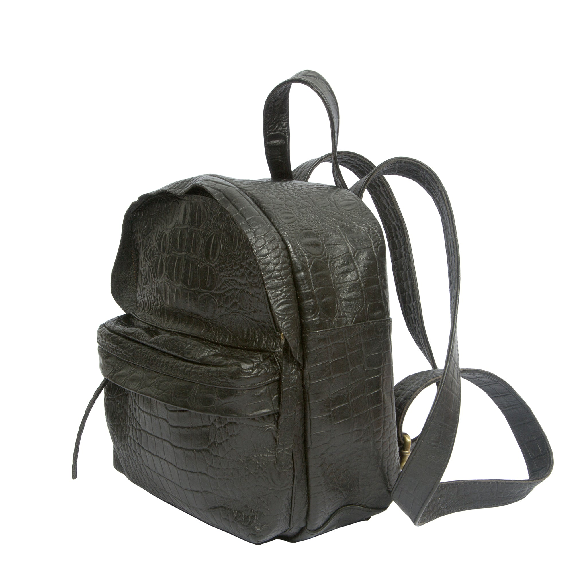 Side view black real leather mini backpack