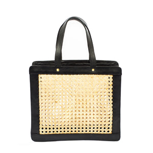 Cane Handbag; Market Wicker Bag; Black Leather and Rattan Shoulder Bag; Shoulder Bags for Summer; Wicker Tote Bags; Black Rattan Bag
