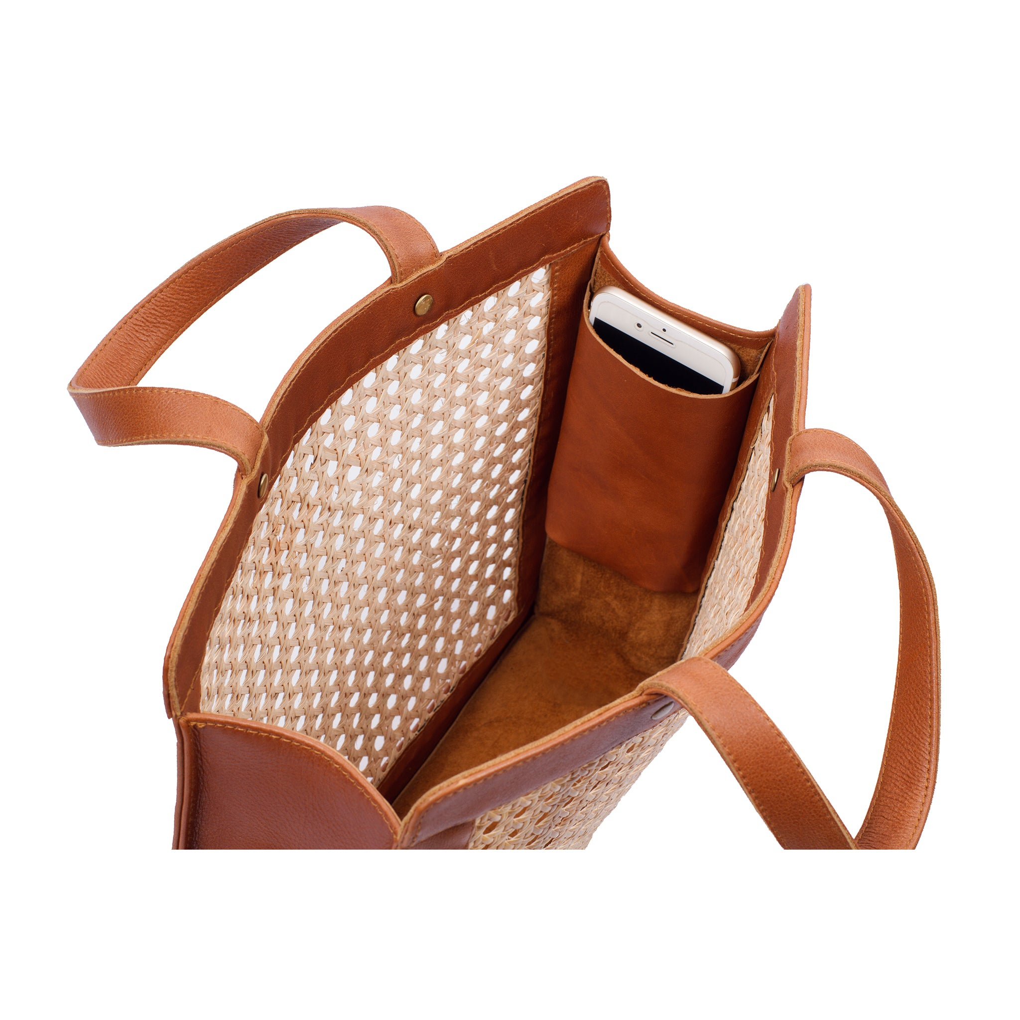 Interior view Rattan and Leather shoulder bag