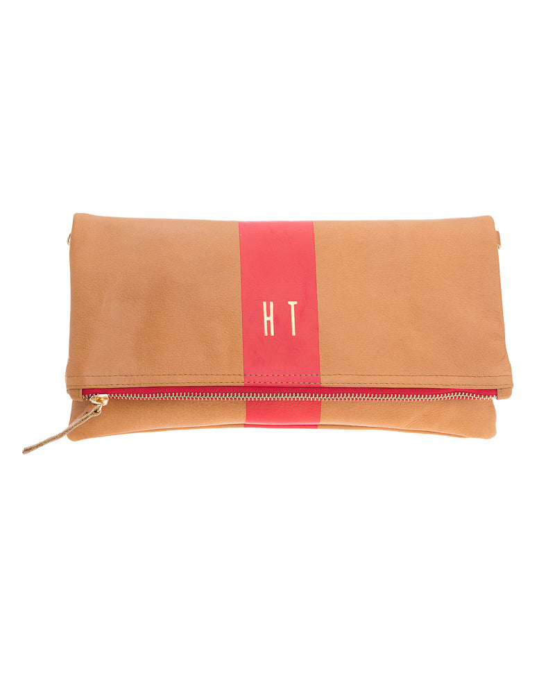Foldover Clutch-Single Stripe Monogrammed