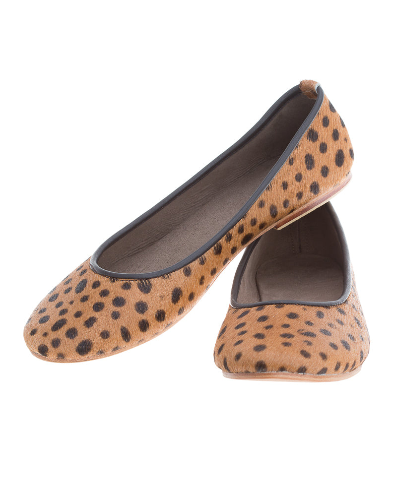 Genuine Leather Spotted Leopard Print Women Ballerina Flat Shoes