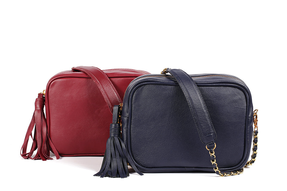 Navy Blue, Wine Red with tassel and crossbody chain strap leather mini camera bag for women