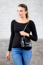 crocodile texture patent leather drawstring purse; black drawstring bag; drawstring bag; sezane hope bag; calf hair purse; leather drawstring bag; bags and purses; handbag for women; affordable leather bags
