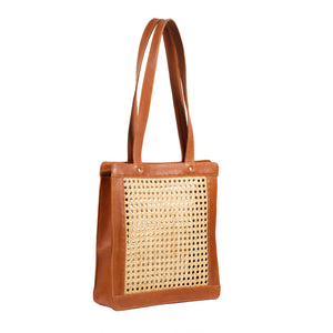 Brown Rattan and Leather Handbag