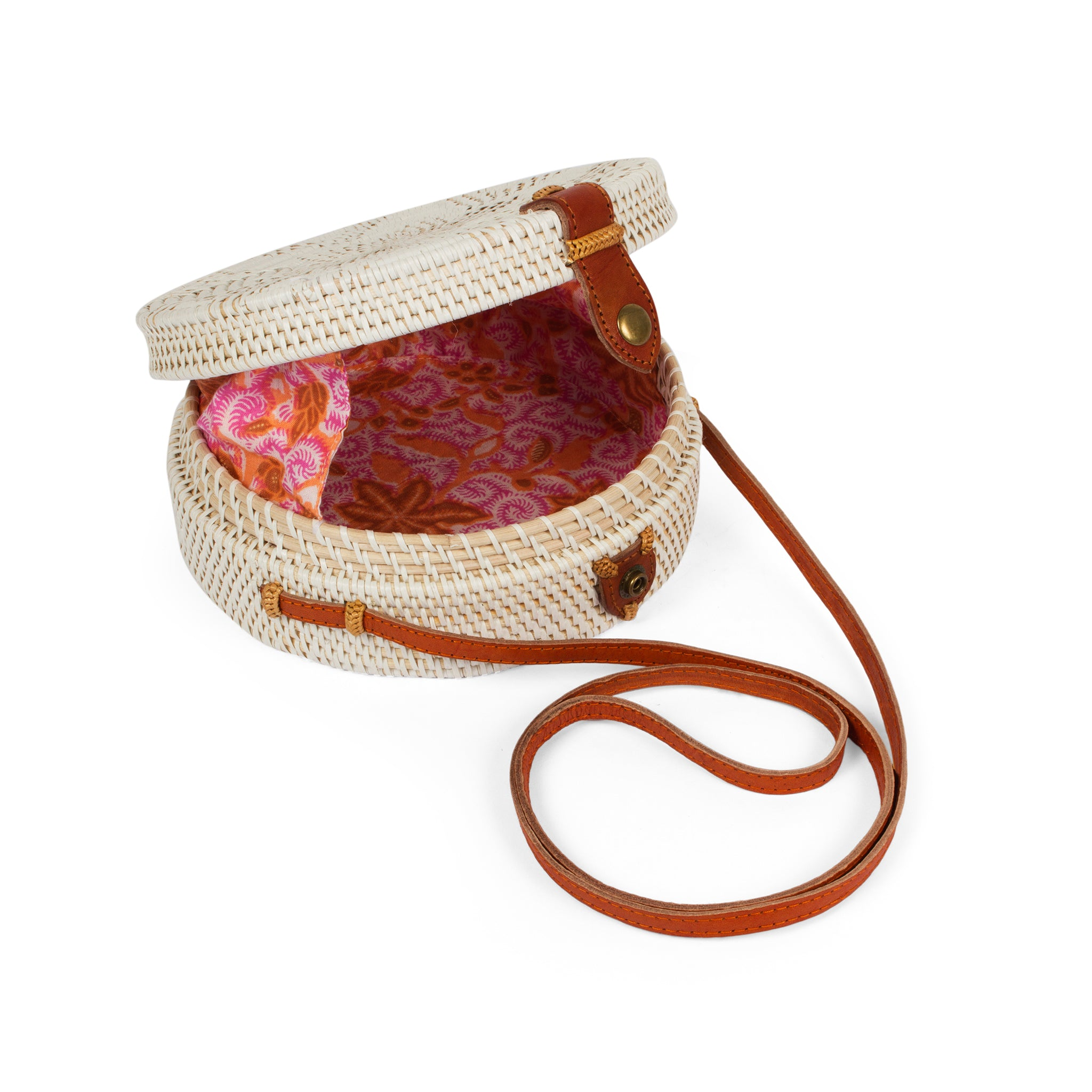 Circular Rattan Bag- Crossbody Round Shoulder Bag-White