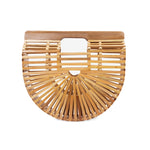 Bags and purse; bamboo ark bag; Cult gaia; black bamboo ark bag; Halfmoon bamboo bag; Wooden handbag; Handbags; Wooden Clutch; Bamboo Clutch; Affordable bamboo ark bag; Bali basket bag; Bamboo bag under $100; Top Handle bamboo bag; natural bamboo ark bag; natural wooden basket bag; natural halfmoon bag
