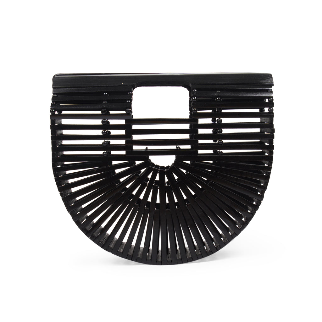 Bags and purse; bamboo ark bag; Cult gaia; Halfmoon bamboo bag; Wooden handbag; Handbags; Wooden Clutch; Bamboo Clutch; Affordable bamboo ark bag; Bali basket bag; Bamboo bag under $100; Top Handle bamboo bag