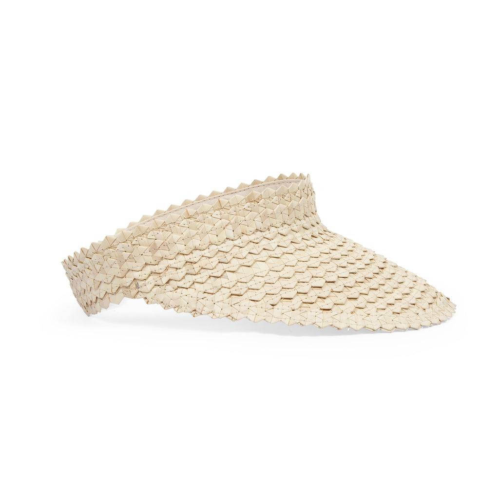Cream Woven Straw Women Summer Visor Hat