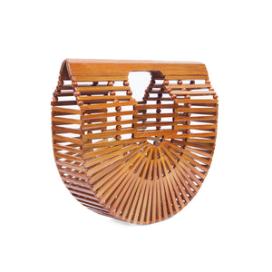 Bags and purse; bamboo ark bag; Cult gaia; Halfmoon bamboo bag; Wooden handbag; Handbags; Wooden Clutch; Bamboo Clutch; Affordable bamboo ark bag; Bali basket bag; Bamboo bag under $100; Top Handle bamboo bag; natural bamboo bag