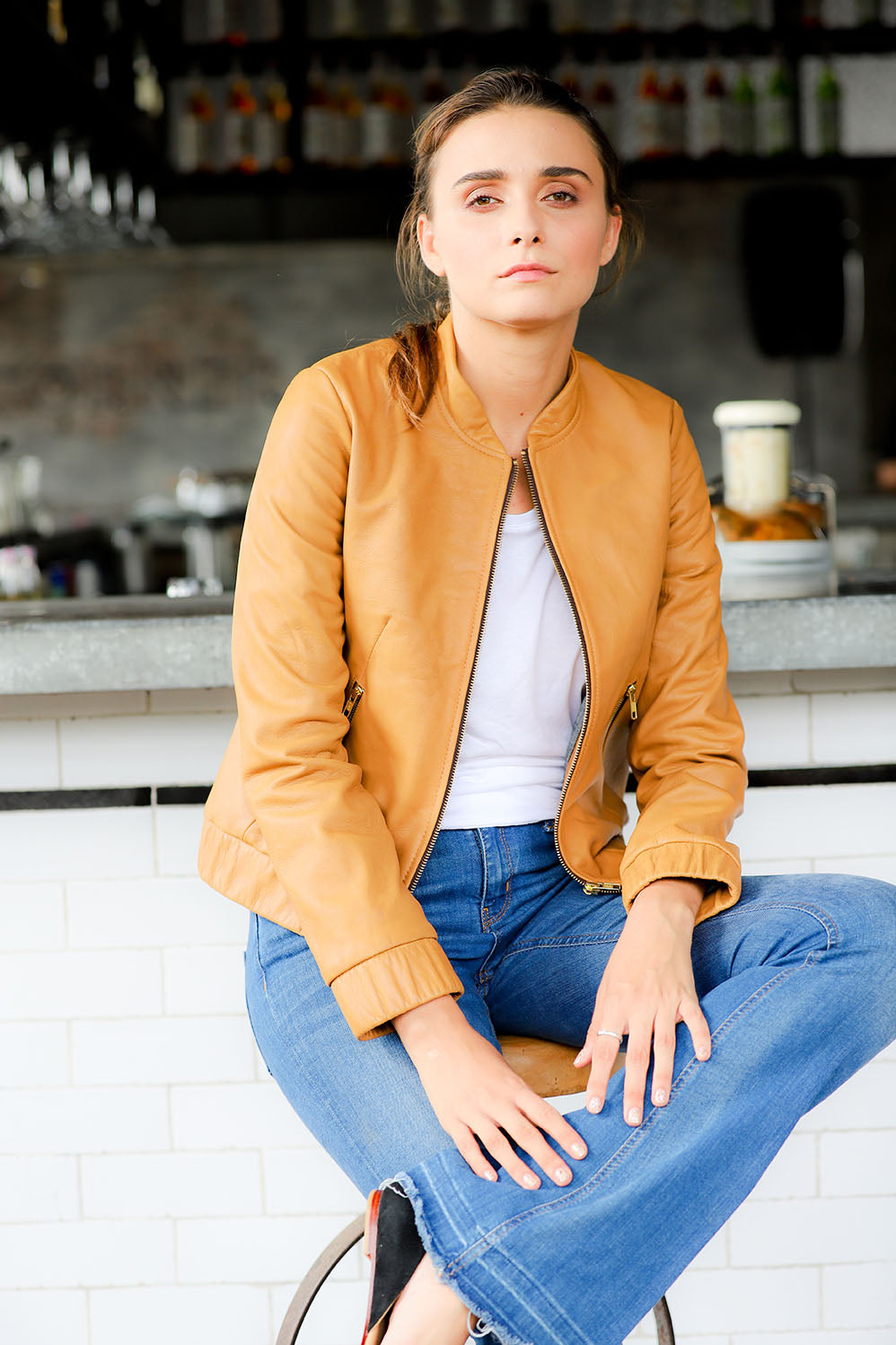 Baseball collar-Leather Bomber Jacket