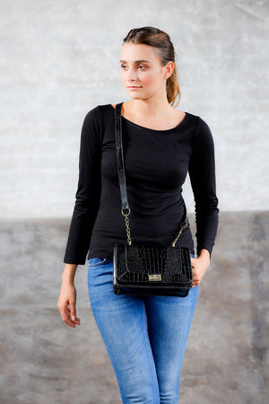 Crossbody croco pattern leather bag; messenger bag black bag; the emily, the kooples; leather crossbody bag; women's black crossbody leather bag; rebecca minkoff
