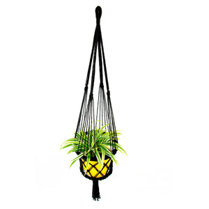 Top view Black Macrame Hanging Planter
