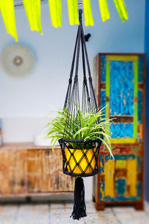 Inside Room Black Macrame Hanging Planter