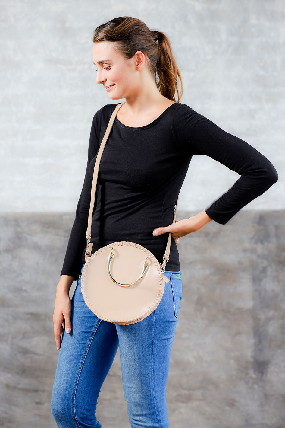 Paris-Small Round Double-Handle shoulder bag