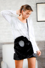 Faux fur black handbag; Top Handle Black Fur bag; Handbags for women