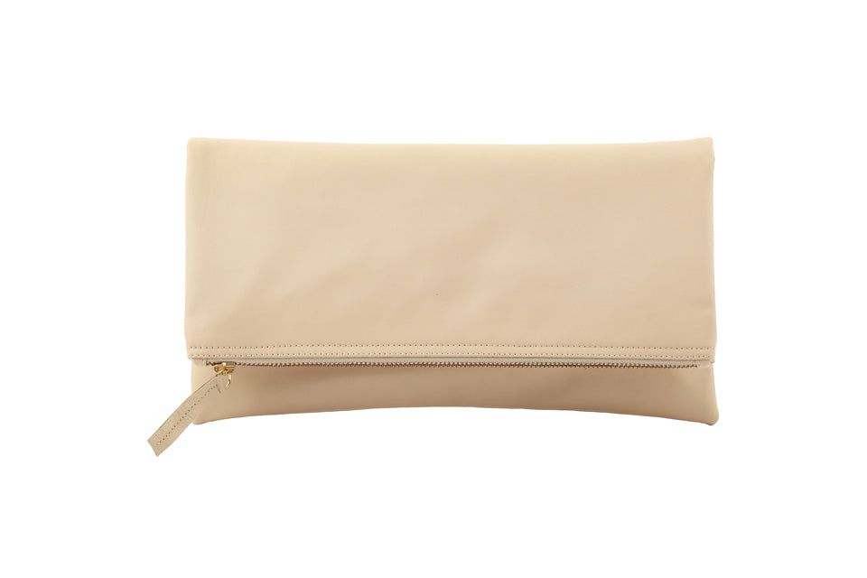 Monogrammed Cream Leather Foldover Clutch Handbag