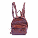 front view brown leather mini backpack
