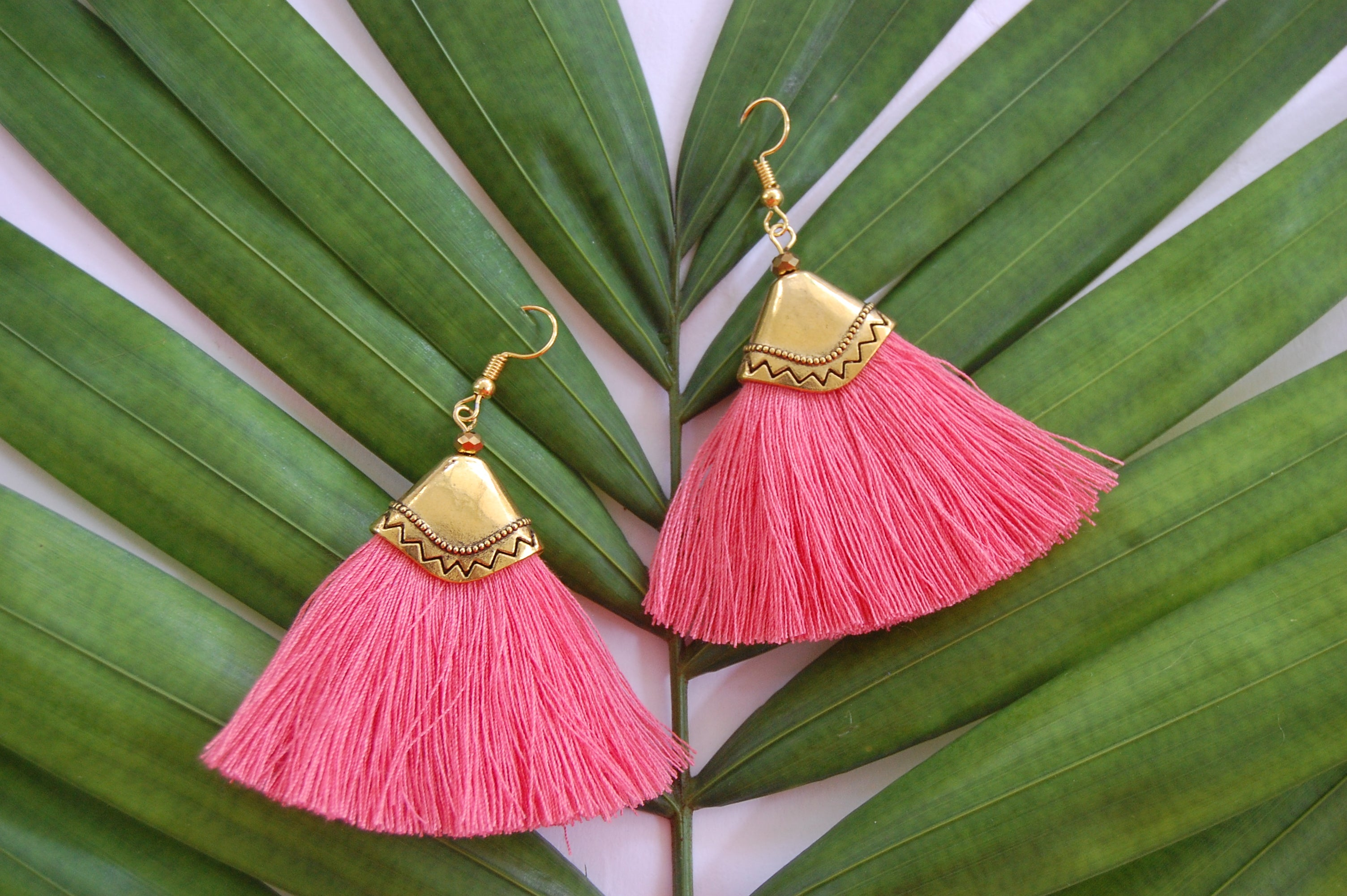 Hot Pink Tassel Fan Bohemian earrings