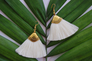 White Tassel Boho Fan Shape Earrings
