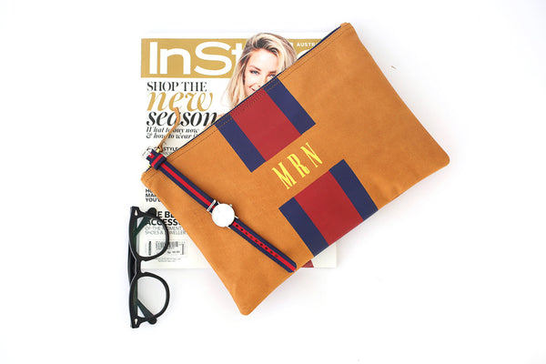 Daniel Wellington watch leather bags and purses; flat stripe clutch; leather stripe clutch; monogram clutch bag; personalized bags