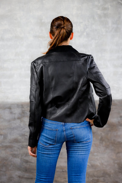 draped neck donna karan leather jacket; black leather jacket; draped neck womens jacket; women's apparel leather collection; lightweight spring leather jacket