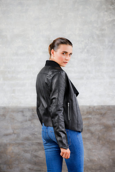 draped neck leather jacket; lightweight leather jacket; women's apparel; genuine leather draped neck jacket; womens black leather jacket